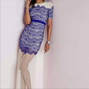 NWT [Missguided] Cobalt Blue Lace Overlay Dress